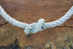 在褐红的背景的绳索结 免版税图库摄影