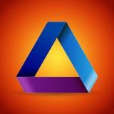 在褐红的背景的Moebius origami五颜六色的纸三角 库存图片