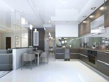 在褐色的厨房当代与白色墙壁和大理石地板 向量例证