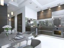 在褐色的厨房当代与白色墙壁和大理石地板 皇族释放例证