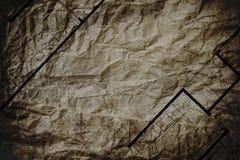 在褐色的抽象建筑学家布局楼面布置图弄皱了纸纹理,与拷贝空间 免版税库存图片