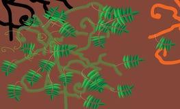 在褐色的绿色叶子 免版税库存照片