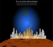 在褐色行星的都市风景纸样式和与样品的蓝色行星概念在后面背景发短信 库存图片