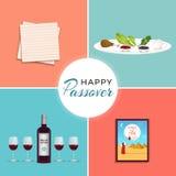 在西伯来犹太假日标志横幅tamplate的愉快的逾越节用酒,seder板材,未发酵的面包 库存例证