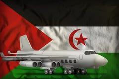 在西撒哈拉州旗子背景的轰炸机 3d?? 库存例证