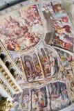 在西斯廷教堂(Cappella Sistina)的米开朗基罗绘画-梵蒂冈,罗马-意大利 图库摄影
