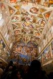 在西斯廷教堂(Cappella Sistina)的米开朗基罗绘画-梵蒂冈,罗马-意大利 库存图片