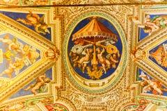 在西斯廷教堂(Cappella Sistina)的米开朗基罗绘画-梵蒂冈,罗马-意大利 免版税库存照片