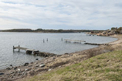 在西海岸瑞典的海滩在春天 免版税库存照片