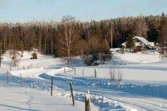 在西海岸的冬天风景在瑞典 免版税库存照片