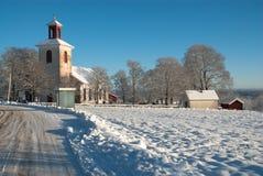 在西海岸的冬天风景在瑞典 免版税图库摄影