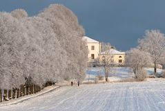 在西海岸的冬天风景在瑞典 免版税库存图片