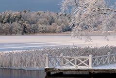 在西海岸的冬天风景在瑞典 库存照片
