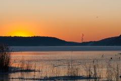 在西海岸的冬天风景,瑞典 库存图片