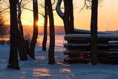 在西海岸的冬天风景,瑞典 免版税库存照片