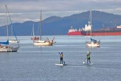 在西海岸的直立的桨搭乘 库存照片