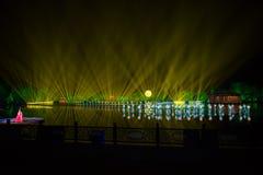 在西湖激光的印象-在附近瓷-与激光和被带领的光的夜 图库摄影