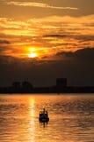 在西湖的日落 库存照片