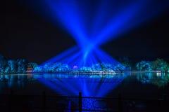 在西湖-在附近瓷的印象-与激光和被带领的光的夜 免版税图库摄影