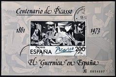 在西班牙打印的印花税由帕布鲁棕色P显示绘画 库存照片