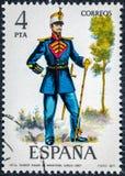 在西班牙打印的邮票显示乐队指挥人步兵1861 库存照片