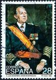 在西班牙打印的邮票显示巴塞罗那的唐璜de Borbon Count 免版税库存照片
