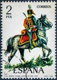 在西班牙打印的邮票显示帕尔瓦Husares中校1909年 库存图片