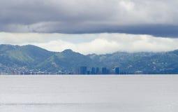 在西班牙港的暴风云 库存图片