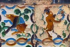 在西班牙的南部的陶瓷艺术,有阿拉伯影响的 免版税库存图片
