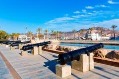 在西班牙的卡塔赫钠大炮海军博物馆口岸 库存照片