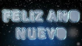在西班牙语的新年快乐3D文本使成环的动画 向量例证
