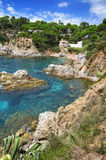 在西班牙附近的brava costa de landscape lloret 3月 库存图片