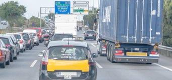 在西班牙高速公路的交通堵塞 免版税库存照片