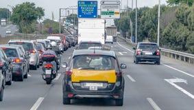 在西班牙高速公路的交通堵塞 库存照片