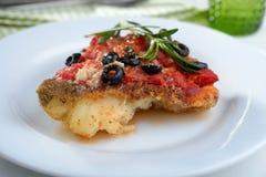在西红柿酱下的被烘烤的鳕鱼 免版税库存图片