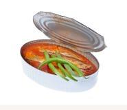 在西红柿酱的罐装沙丁鱼 库存照片