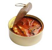 在西红柿酱的罐装鱼 免版税库存图片