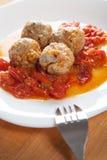 在西红柿酱的肉丸 免版税库存图片