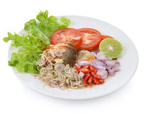 在西红柿酱,罐装鱼的辣沙丁鱼 库存照片