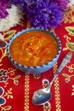 在西红柿酱-辣椒粉、辣椒和蕃茄调味汁的保加利亚胡椒  免版税库存照片