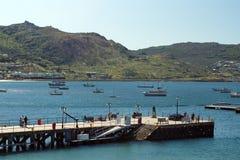 在西蒙的镇停泊的小船 免版税库存图片