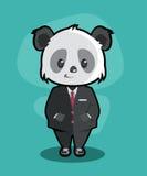 在西装传染媒介的熊猫 库存图片