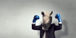 在西装穿戴的犀牛 混合画法 免版税库存照片