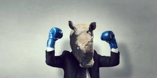 在西装穿戴的犀牛 混合画法 免版税库存图片