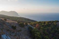 在西西里人的海岸的日落 免版税库存照片