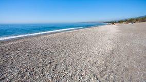 在西西里岛使爱奥尼亚海海岸的圣Marco靠岸 免版税图库摄影