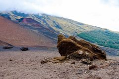 在西西里岛的风景火山风景 意大利火山 西西里人的Etna 免版税库存照片
