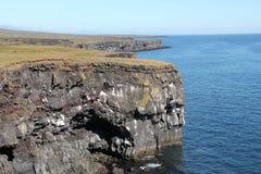 在西部冰岛的峭壁岩石。 库存图片
