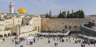 在西部墙壁上的全景,耶路撒冷 库存照片