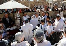 在西部墙壁的成人仪式仪式在耶路撒冷 免版税库存照片